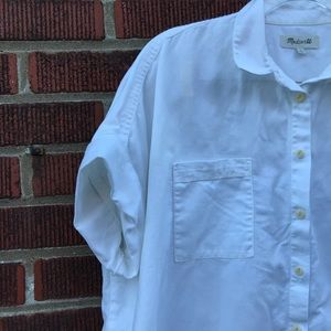 Madewell Tops - Madewell White Cotton Courier Shirt Women's XL
